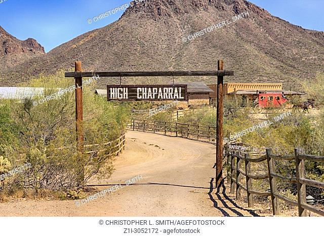 High Chaparral Ranch sign at the Old Tucson Film Studios amusement park in Arizona