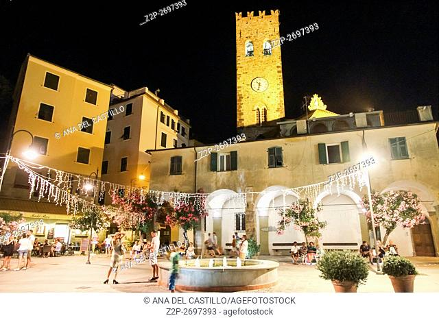 MONTEROSSO AL MARE ITALY-JULY 17, 2015: Picturesque shoot in Monterosso al Mare town by night in famous Cinque Terre on July 17, 2015 in La Spezia Italy