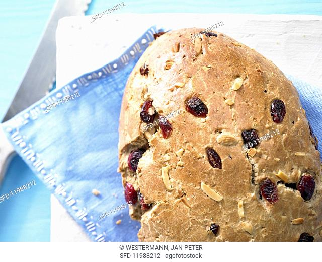 A sweet cranberry loaf with almonds