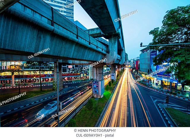 Sky train bridge, Pathum Wan district, Bangkok, Thailand