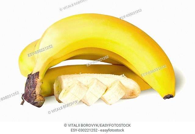 Bunch Of Whole And Sliced Banana Isolated On White Background