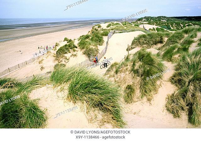 Marram grass, sand dunes and beach on the Irish Sea coast at Formby, Merseyside, England
