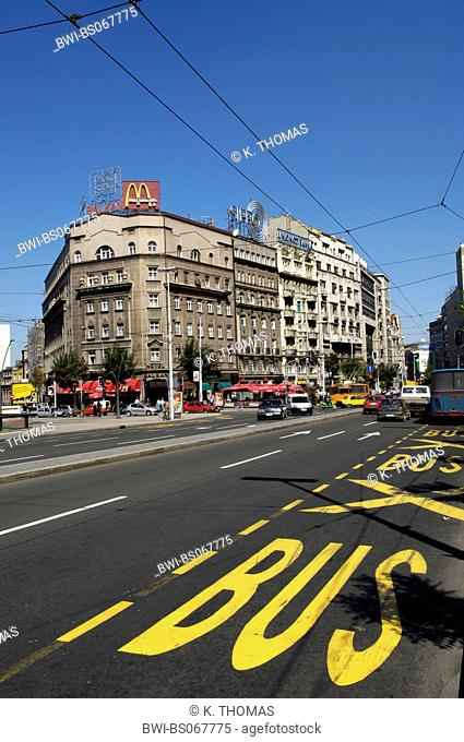 Beograd, multi-lane road with bus markings, Mc Donalds ad on the top of a building, Serbia-Montenegro, Belgrade