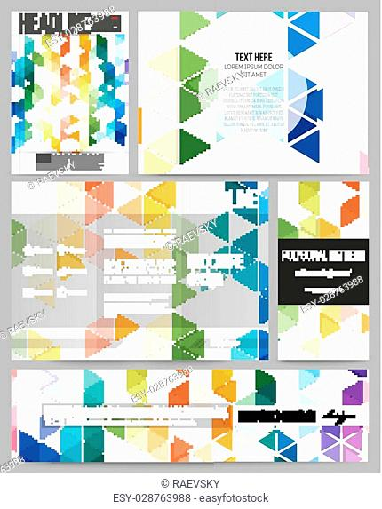 Set of business templates for presentation, brochure, flyer or booklet. Abstract colorful business background, modern stylish hexagonal and triangle vector...