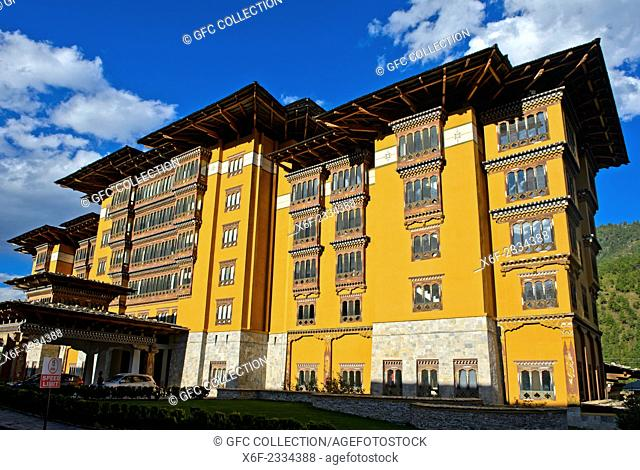 Exterior of the Taj Tashi Hotel, Thimphu, Bhutan
