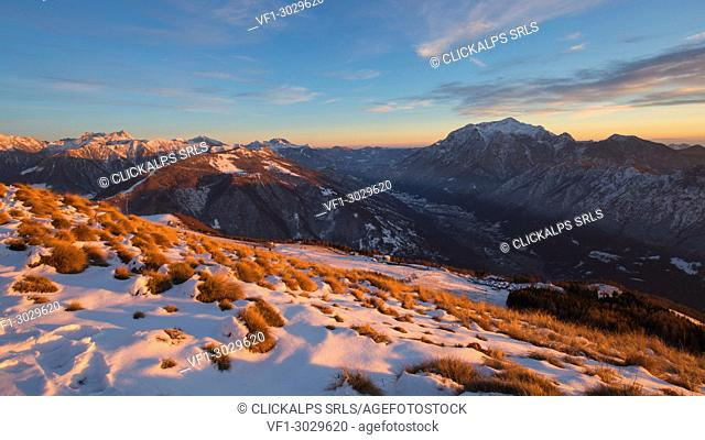 Sunset on Mount Grigna from mount Muggio,Muggio,Giumello,Casargo;Valsassina,Lecco,Lombardy,Italy,Europe