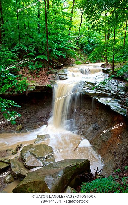 Blue Hen Creek Falls in Cuyahoga National Park, Ohio  Surrounded by lush forest on a summer day after a heavy rainfall