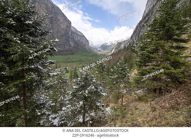 Landscape in Lauterbrunnen Junfrau region Berner Oberland Switzerland Trummelbachfalle cascades