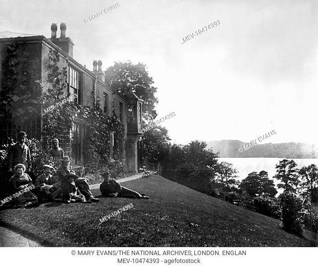 John Ruskin, family and friends outside Brantwood, Coniston, 1881