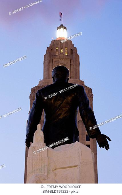 Low angle view of statue outside Louisiana State Capitol, Baton Rouge, Louisiana, United States
