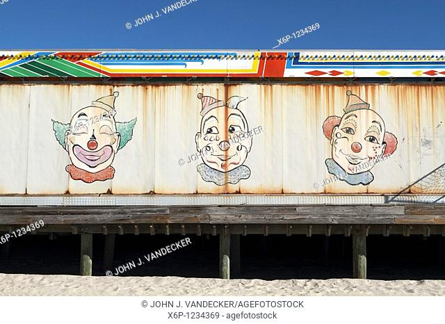 Clown Faces painted on the back of an amusement stand  Casino Pier, Seaside Heights, New Jersey, USA