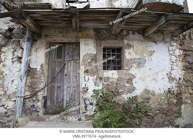 A derelict building in the old village of Bortigali, Sardinia, Italy