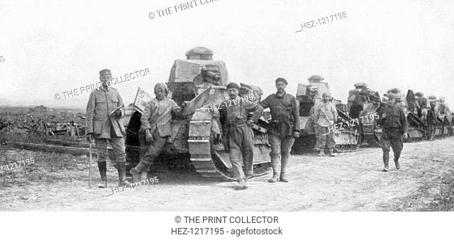 A group of light tanks, Soissons, France, 1918. Although tanks were first deployed in World War I by the British, it was the French who adopted the new weapon...