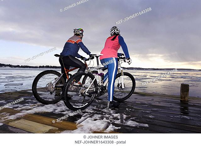 Mature couple on mountain bikes looking at view