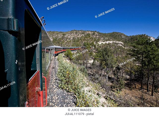 Train on the railroad line between Creel and Posada Barrancas, Chihuahua, Mexico