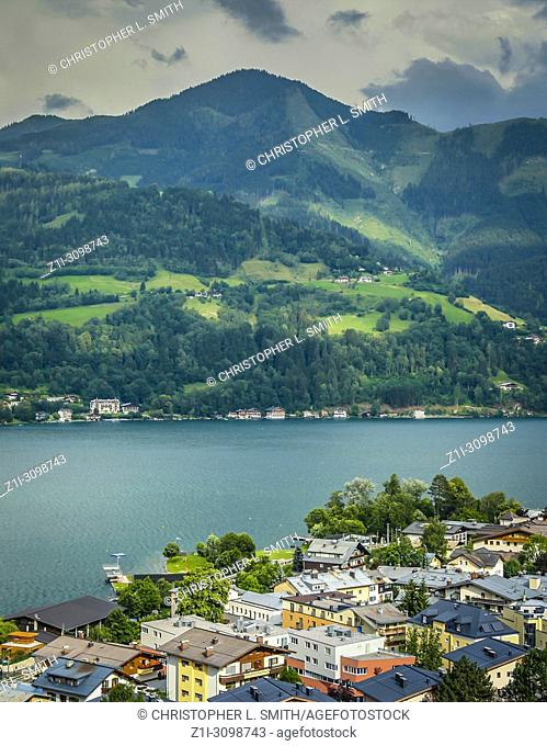 The Austrian Alps overlooking Lake Zell and the town of Zell-Am-See in Austria