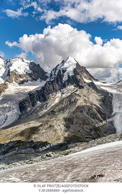 Piz Roseg, Sellagletscher und Piz Bernina seen from Piz Corvatsch Mountain Station, Grisons, Switzerland