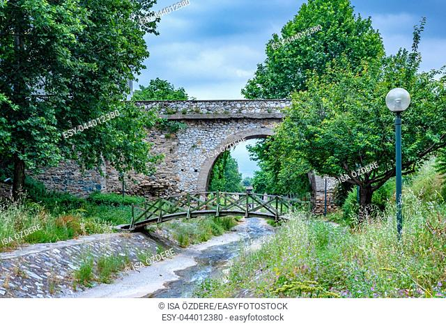 View of Ancient historical Setbasi Bridge in Bursa,Turkey