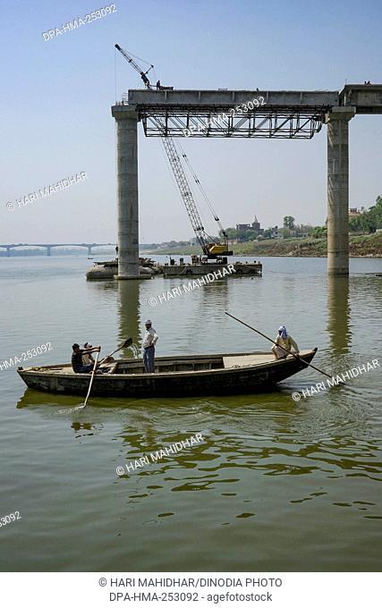 Bridge construction, varanasi, uttar pradesh, india, asia