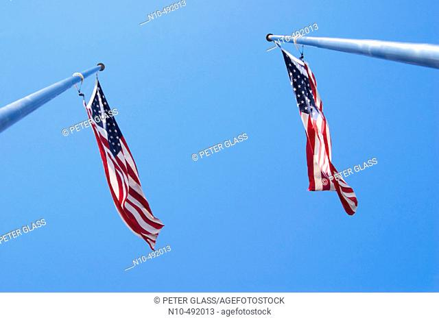 Two American flags on flagposts, being blown by the wind