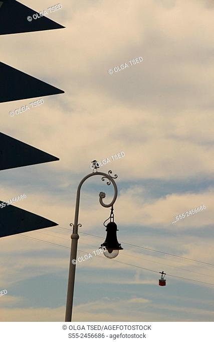 Barcelona cable car, Maremagnum área, Port Vell, Barcelona, Catalonia, Spain