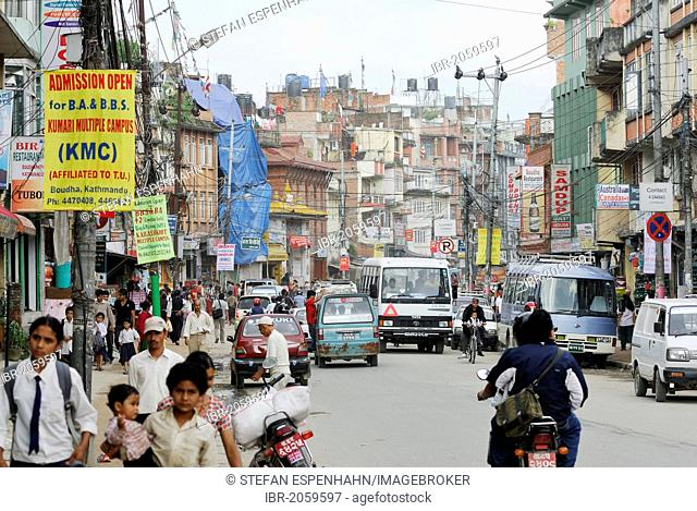 Traffic, pedestrians and vehicles on the main street in Kathmandu, Nepal, Asia