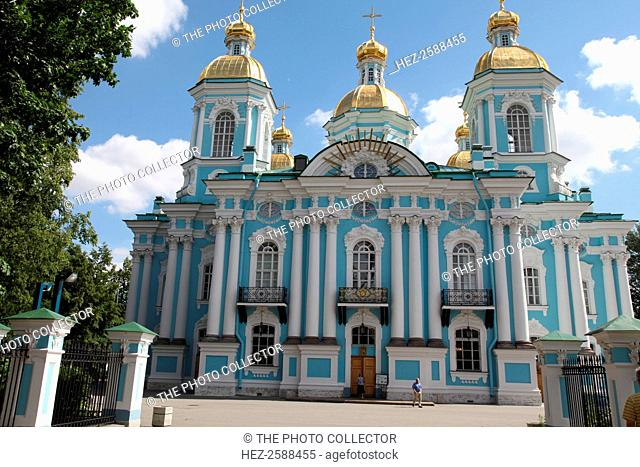 St Nicholas Naval Cathedral, St Petersburg, Russia, 2011. The Baroque cathedral was designed by Savva Chevakinsky and built between 1753 and 1762