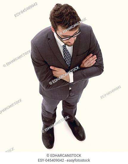 serious businessman. view from above. full-length
