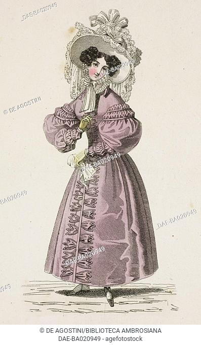 Woman wearing a light plum-coloured walking dress with puffed sleeves and a white hat decorated with ribbons, lace, and hanging veil, plate 66, French Fashions
