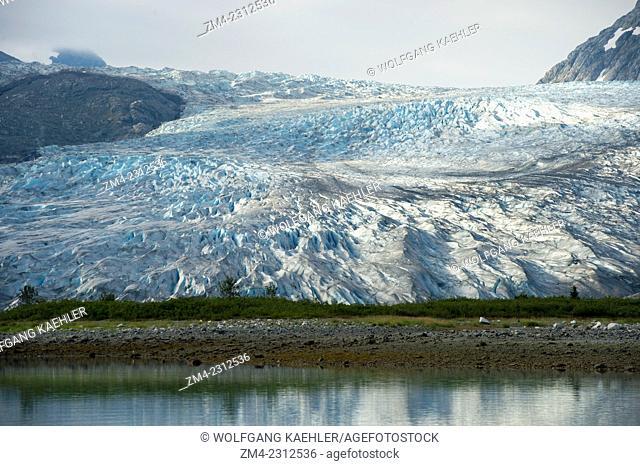 View of Reid Glacier in Glacier Bay National Park, Southeast Alaska, USA