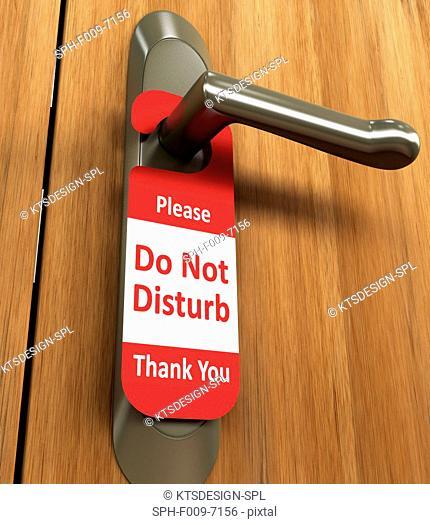 Door handle with do not disturb sign, conceptual artwork