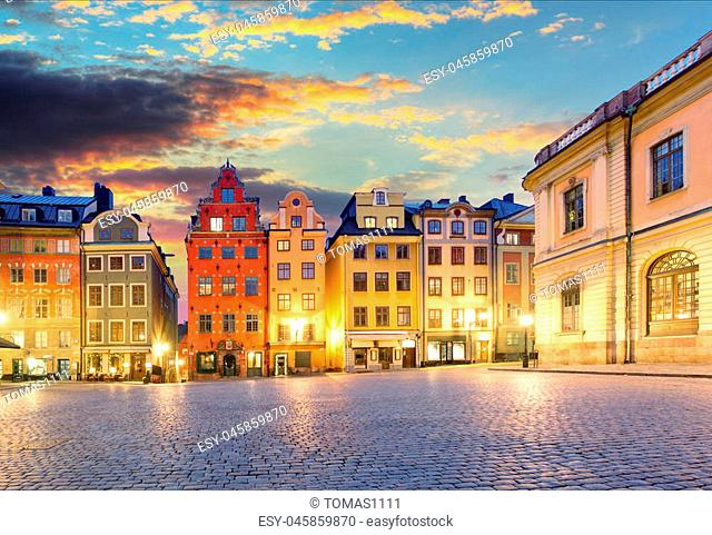 Scenic summer night - Big Square (Stortorget) in the Old Town (Gamla Stan) in Stockholm, Sweden