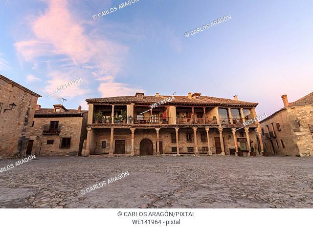 Pedraza main square, a nice town of Segovia, Castilla y Leon, Spain