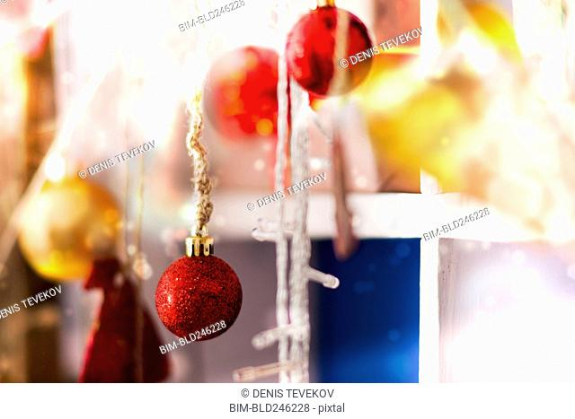 Close up of Christmas ornaments