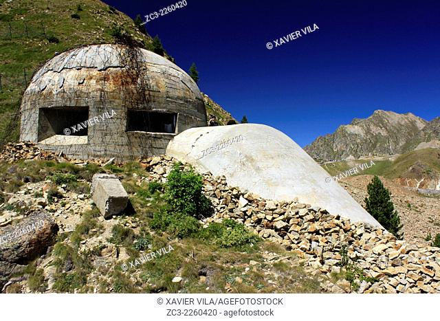 Col de la lombarde, bunker in the mountain, at the border between Cuneo, Piedmont, in Italy and the station of Isola 2000, National Park, Mercantour