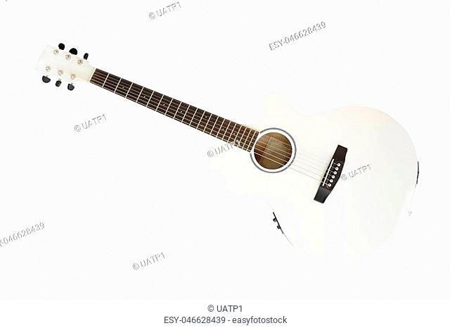 The image of white acoustic guitar isolated under the white background