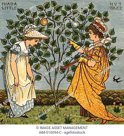 I had a little nut tree and nothing would it bear  Illustration by the English artist Walter Crane 1845-1915 for a book of nursery rhymes 'Sing a Song of...