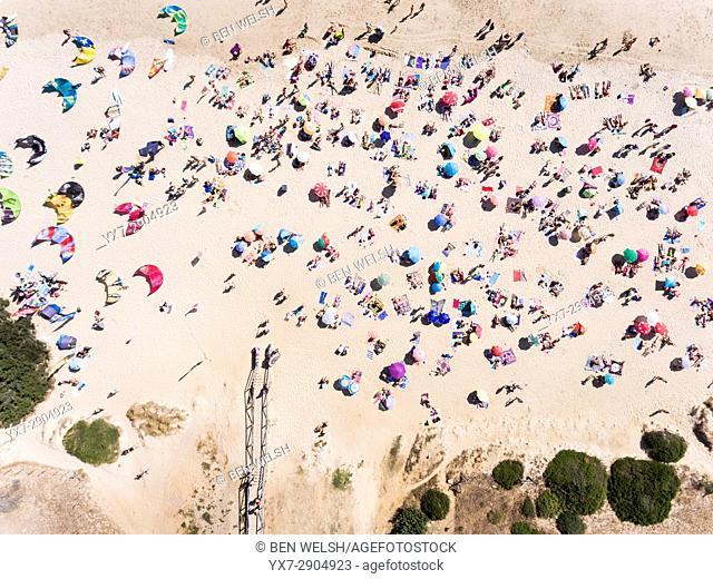 People at the beach. Valdevaqueros, Tarifa, Cadiz, Costa de la Luz, Andalusia, Spain