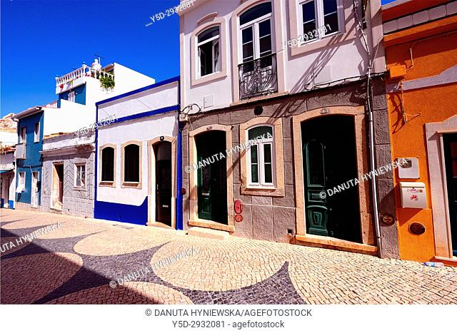 architecture in historic part of Lagos city, Rua de Sao Goncalo de Lagos - patron of Lagos, Algarve, Portugal, Europe