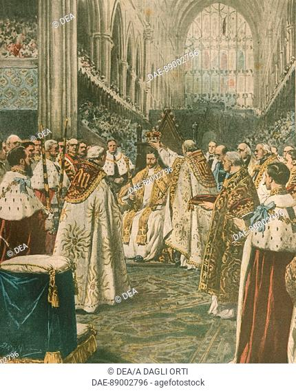 United Kingdom, 20th century - Coronation of King George V in London. Cover illustration from La Domenica del Corriere, Sunday supplement to Italian daily...