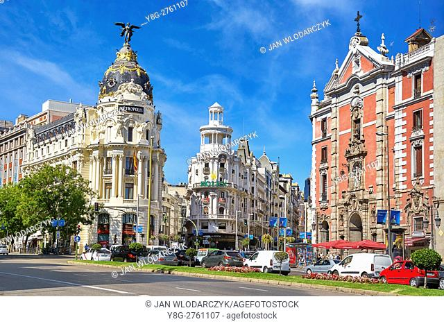 Metropolis building, Gran Via, Madrid, Spain