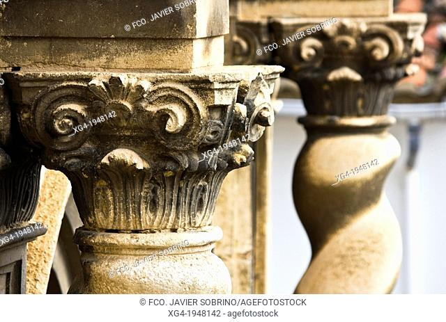 Corinthian capital in the Church of the Assumption, Baroque - Portell de Morella - Els Ports - Castellón Province - Comunidad Valenciana - Spain - Europe