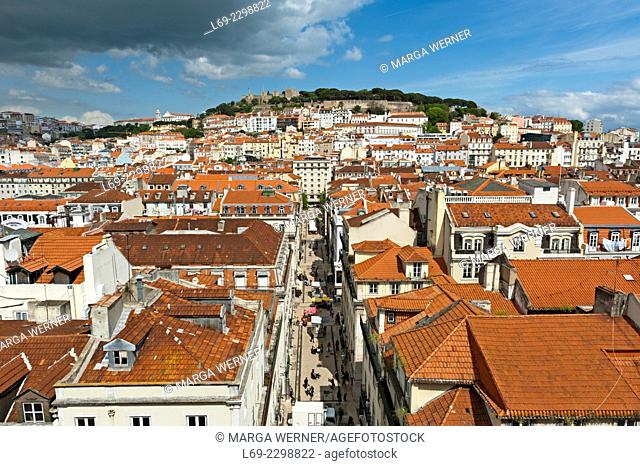 View from Elevador de Santa Justa at Baixa district and Mouraria with Sao Jorge castle on the hill, Lisbon, Portugal, Europe