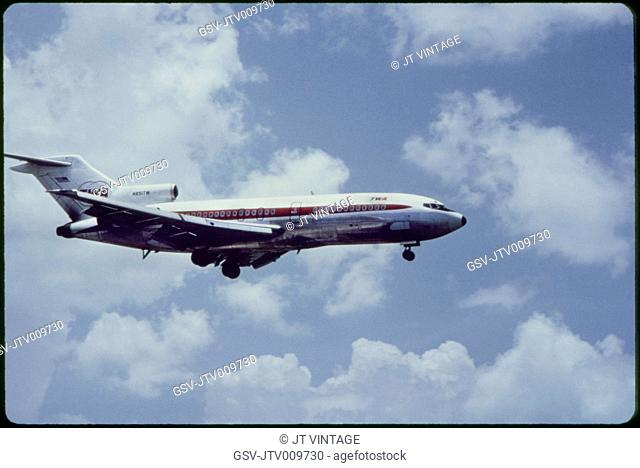 TWA Airlines Boeing 727-31 Commercial Jet In-Flight, 1960's