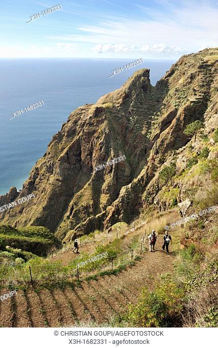 hiking trail from Prazeres to Paul do Mar, Madeira island, Atlantic Ocean, Portugal