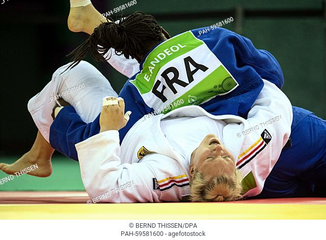 Germany's Jasmin Kuelbs (white) competes in the Women's +78kg Final with Emilie Andeol of France at the Baku 2015 European Games in Heydar Aliyev Arena in Baku