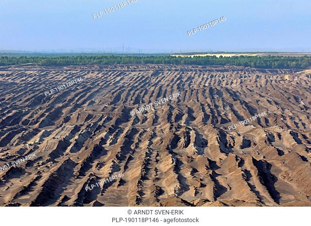 Aerial view over the Nochten opencast pit, lignite mine near Weißwasser / Weisswasser, Saxony, Eastern Germany