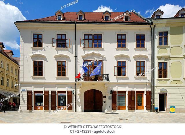 Slovak Republic, Slovakia, Bratislava, Capital City, Danube, Little Carpathians, Main Square, Hlavne namestie, Kutscherfeld Palace, Esterhazy Palace, rococo
