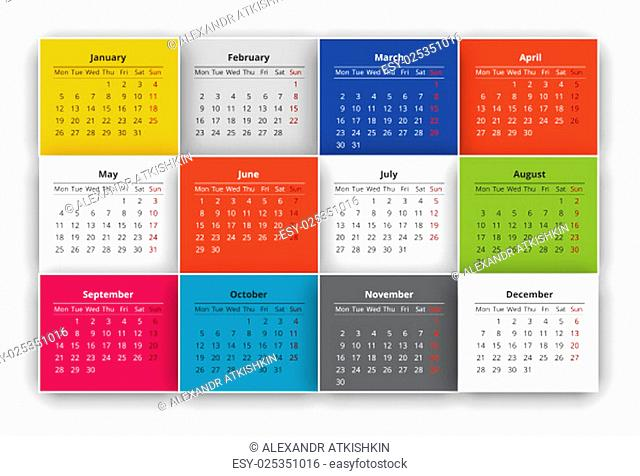 Calendar design for the year 2015