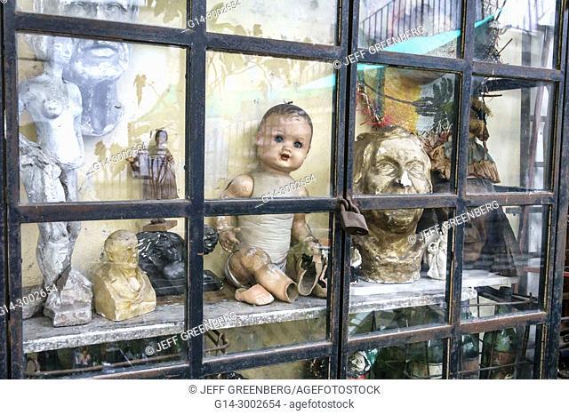 Argentina, Buenos Aires, San Telmo, Pasaje Galeria de la Defensa, shopping, window, antiques, sculpture, doll, Hispanic, Argentinian Argentinean Argentine South...